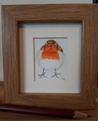 Mini framed print Robin